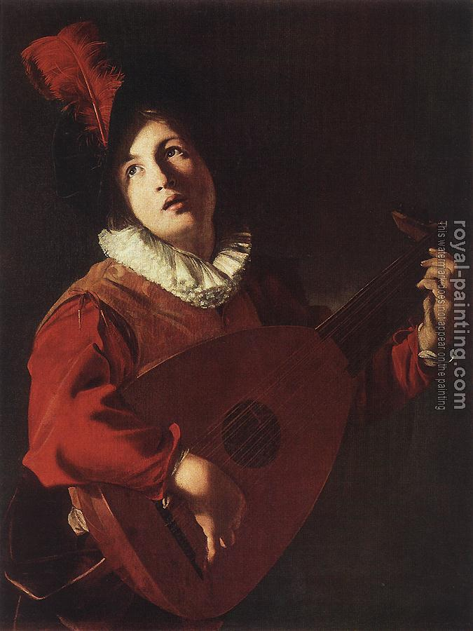 Bartolomeo Manfredi : Lute Playing Young