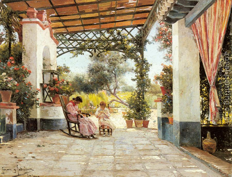 Manuel Garcia Y Rodriguez : Mother And Daughter Sewing On A Patio