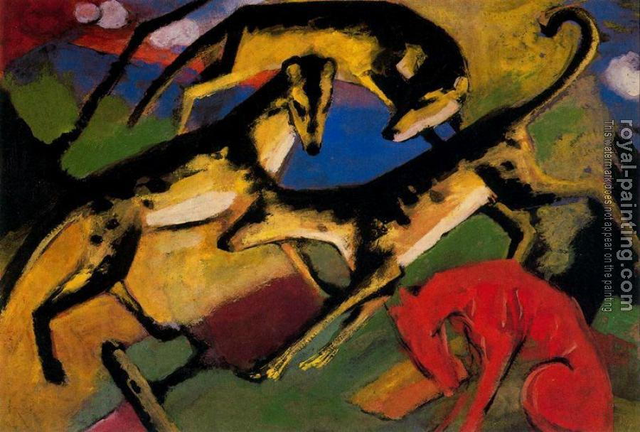 Franz Marc : Playing Dogs