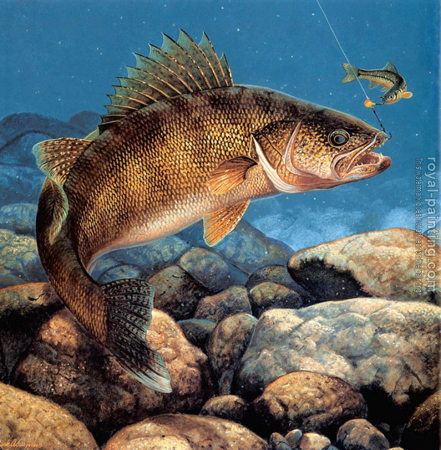 Stinger hooked walleye by mark susinno oil painting for Fish scenery drawing