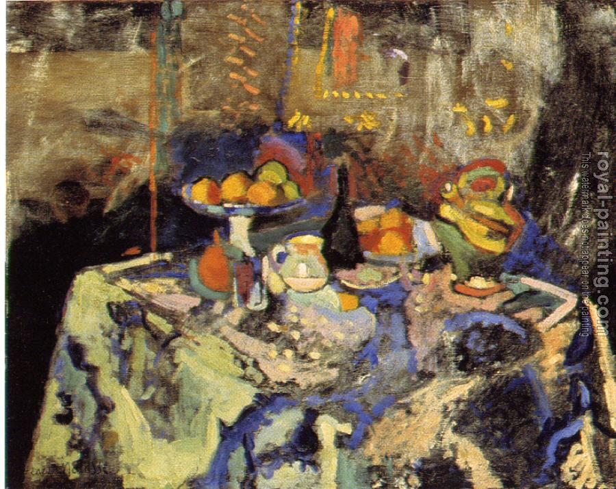 Henri Emile Benoit Matisse : still life with blue tablecloth