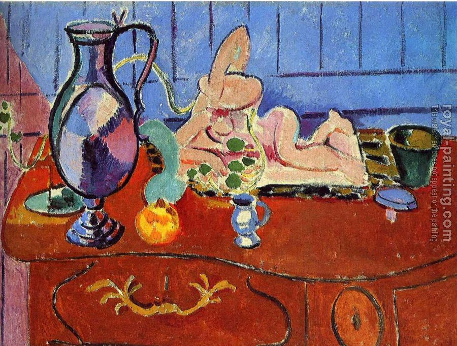 Henri Emile Benoit Matisse : still life with a pewter jug and pink statuette