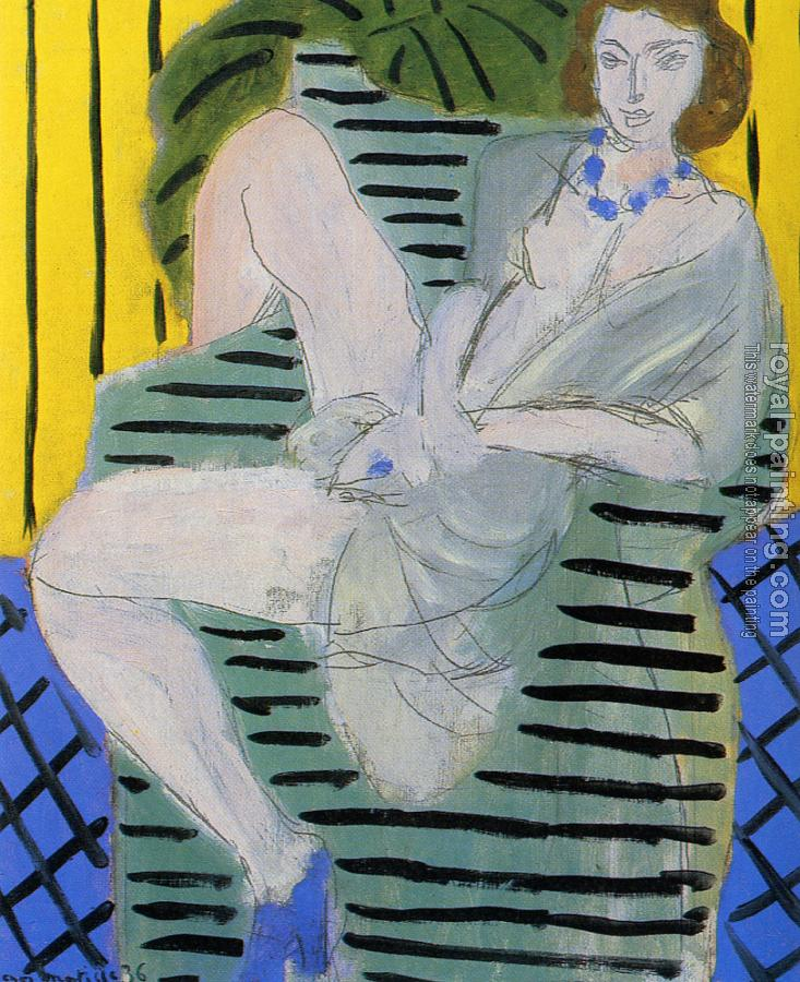 Henri Emile Benoit Matisse : woman in an armchair or a blue and yellow background