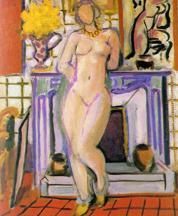 nude beside a fireplace