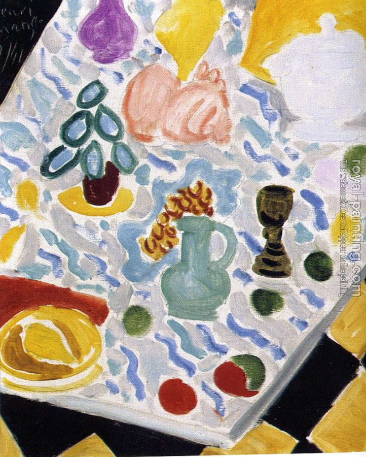 Henri Emile Benoit Matisse : still life with green marble table