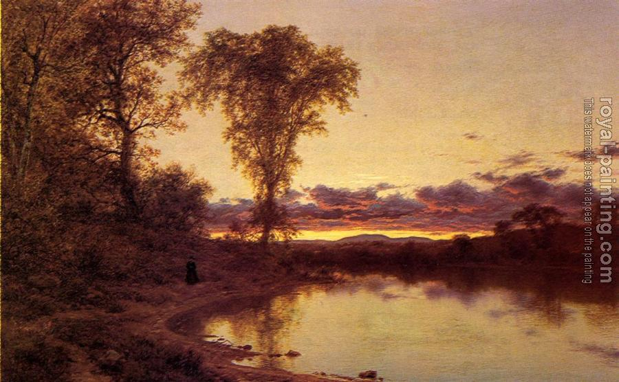 Jervis McEntee : Twilight, a Stroll by the Shore
