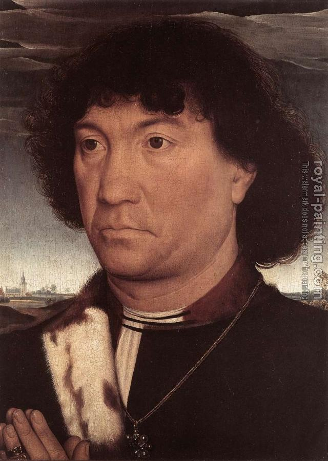 Hans Memling : Portrait of a Man at Prayer before a Landscape