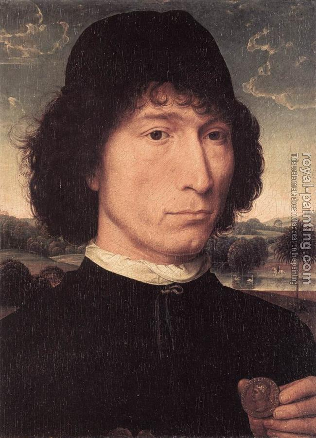 Hans Memling : Portrait of a Man with a Roman Coin