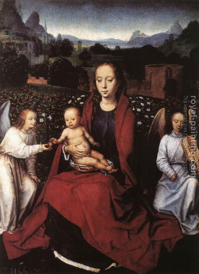 Hans Memling : Virgin and Child in a Rose-Garden with Two Angels