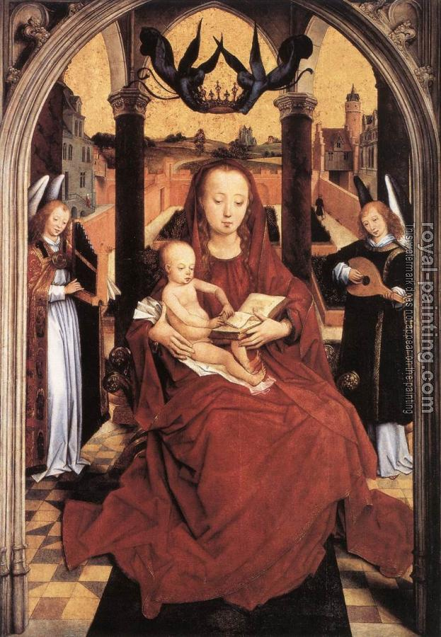 Hans Memling : Virgin and Child Enthroned with two Musical Angels