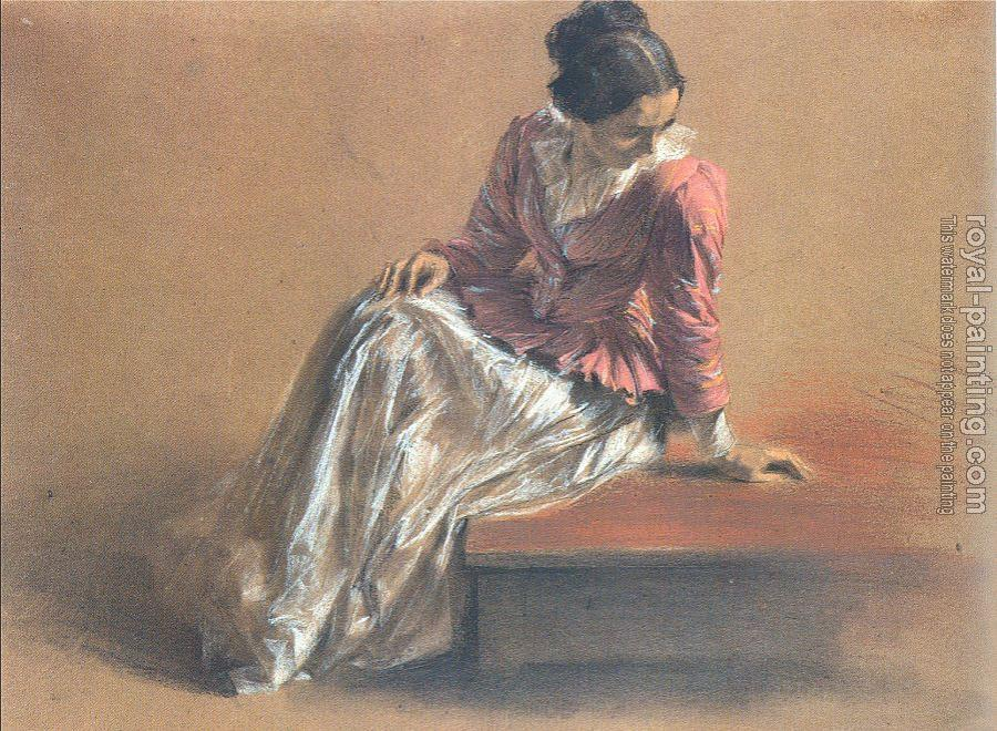 Adolph Von Menzel : Costume Study of a Seated Woman, The Artist's Sister Emilie
