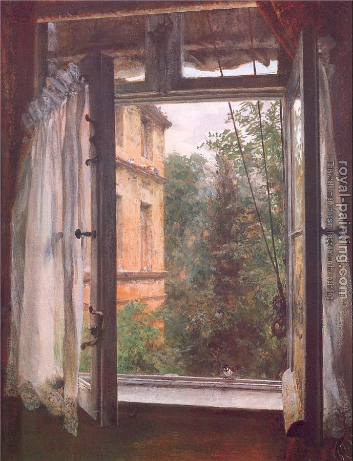 Adolph Von Menzel : View from a Window in the Marienstrasse