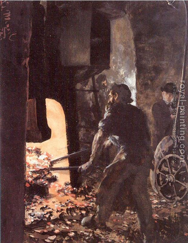 Adolph Von Menzel : Self-Portrait with Worker near the Steam-hammer