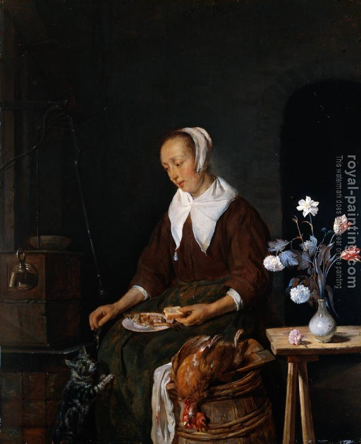 Gabriel Metsu : Woman Eating and Feeding her Cat