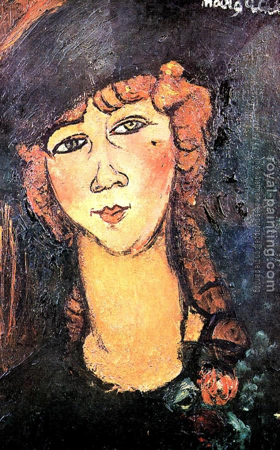 Amedeo Modigliani : Lolotte (Head of a Woman in a Hat)