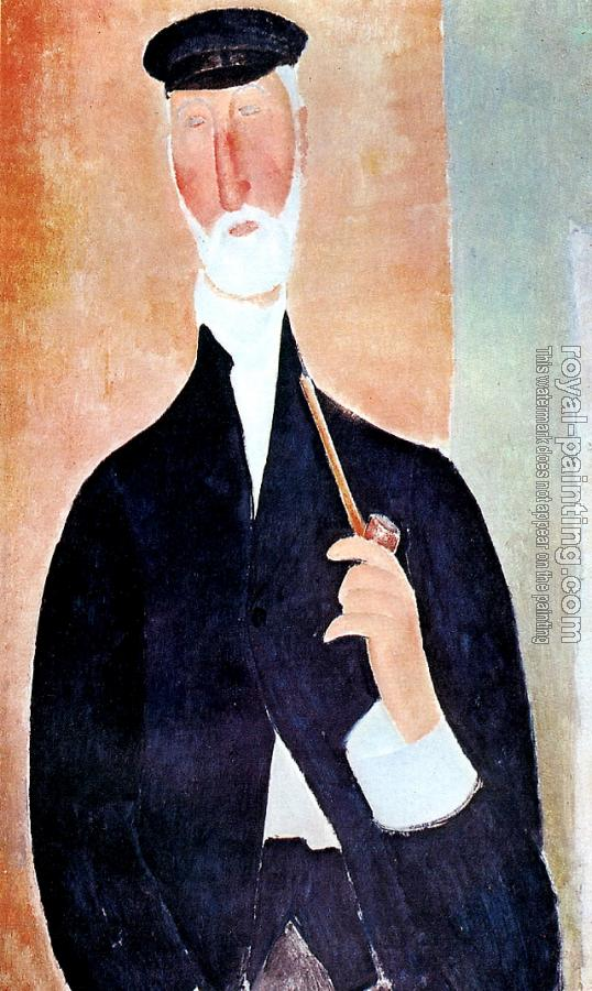 Amedeo Modigliani : Man with a pipe