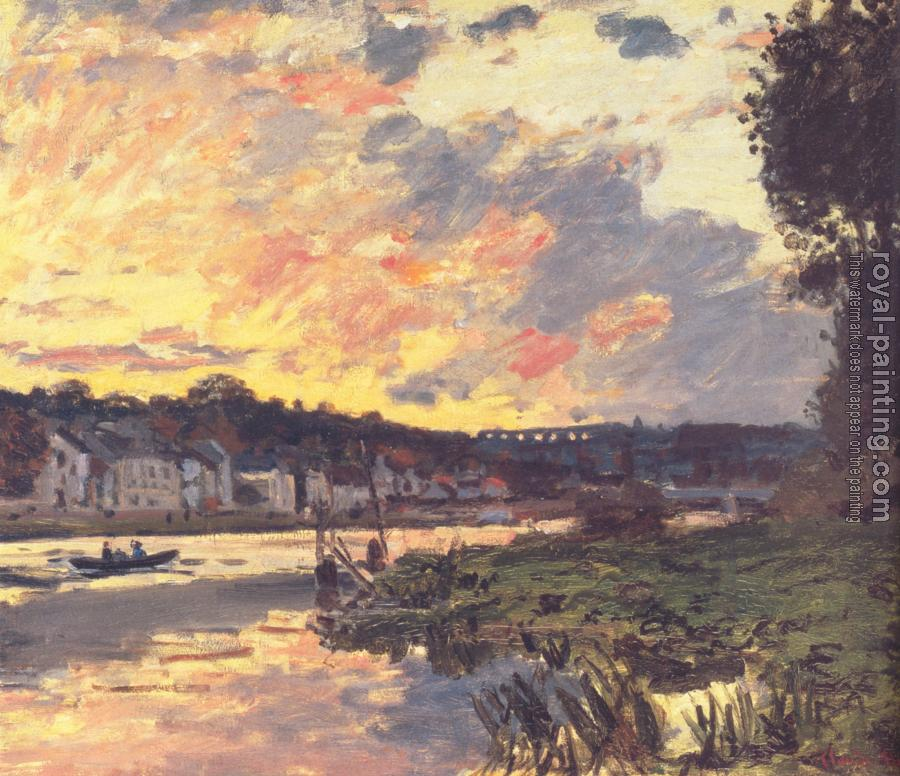 Claude Oscar Monet : The Seine at Bougival in the Evening
