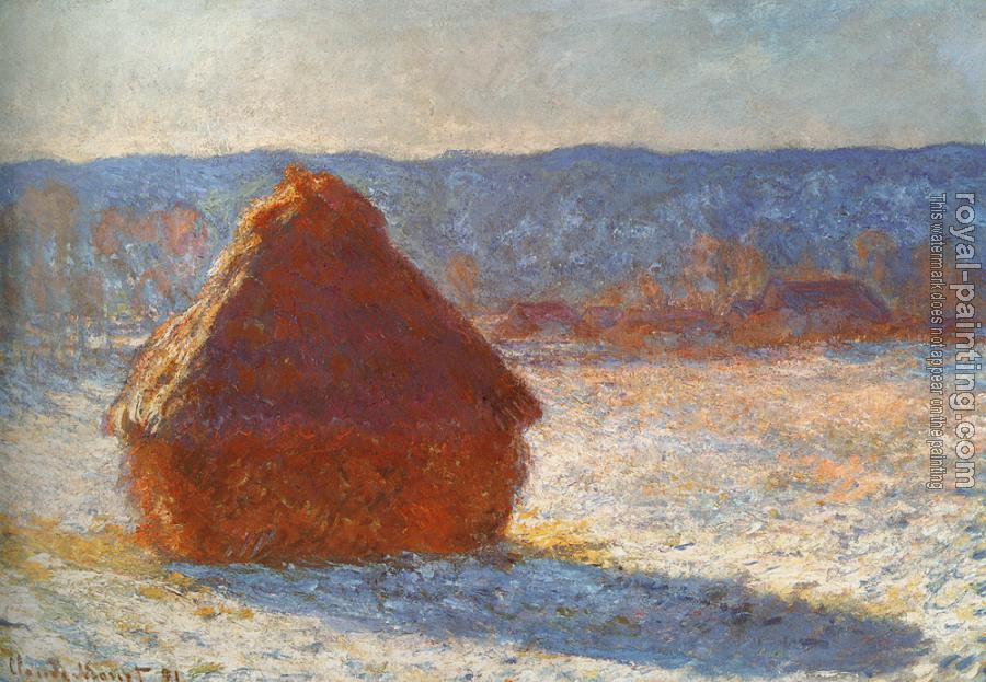 Meules, effet de neige, le matin, Translated title: Haystack, snow effect
