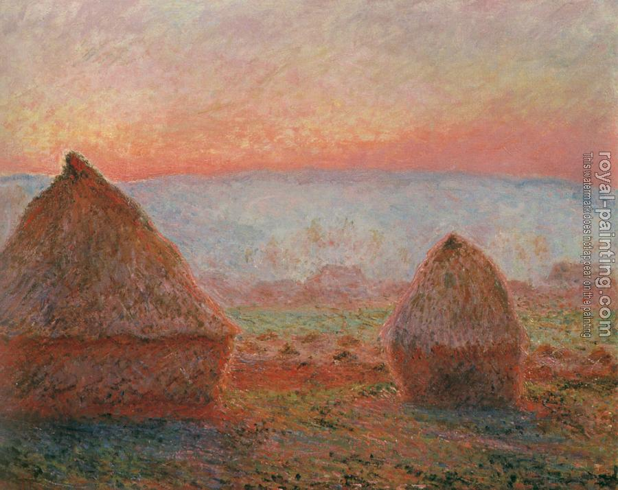Claude Oscar Monet : Les Meules a Giverny, soleil couchant, Translated title: Haystacks at Giverny, the evening sun