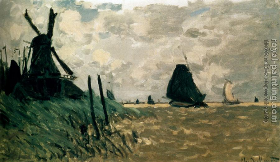 Claude Oscar Monet : A Windmill Near Zaandam