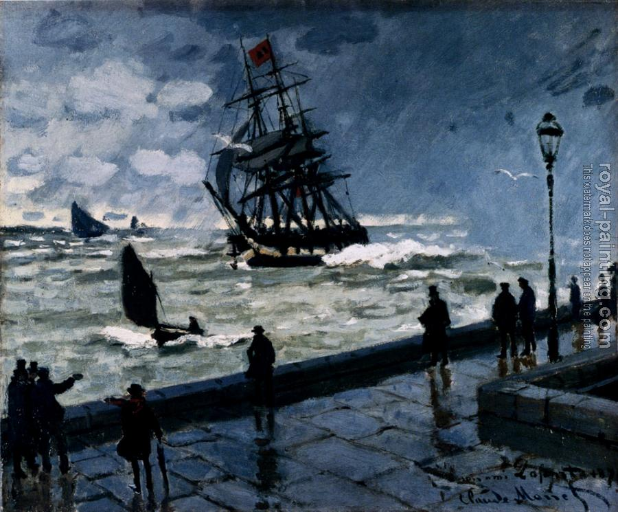 Claude Oscar Monet : The Jetty At Le Havre, Bad Weather