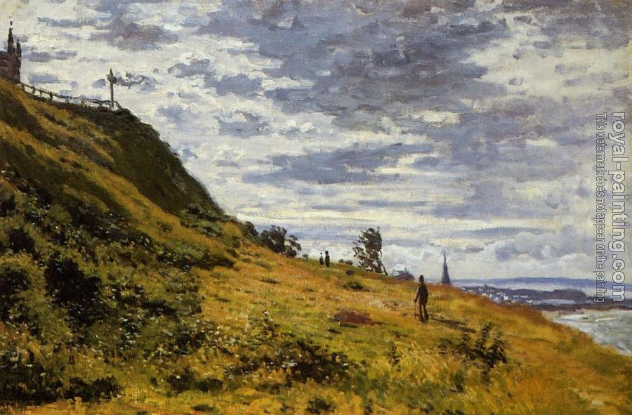 Claude Oscar Monet : Taking a Walk on the Cliffs of Sainte-Adresse