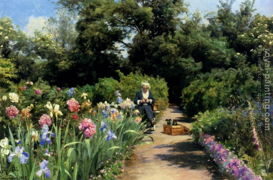 Peder Mork Monsted : Knitting In The Garden