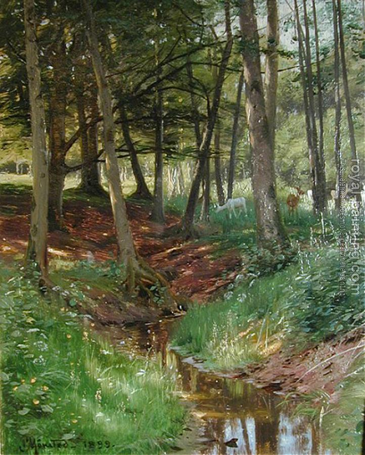 Peder Mork Monsted : Landscape With Deer