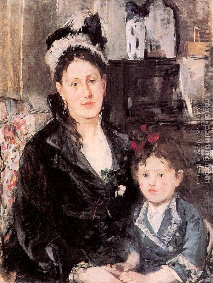 Berthe Morisot : Portrait of Mme. Boursier and her Daughter