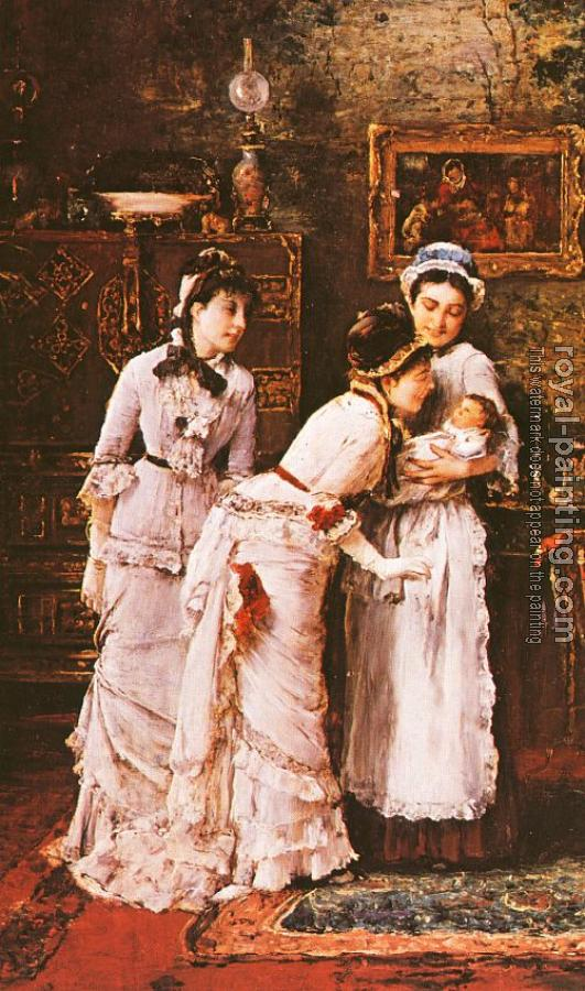 Mihaly Munkacsy : Baby's Visitors