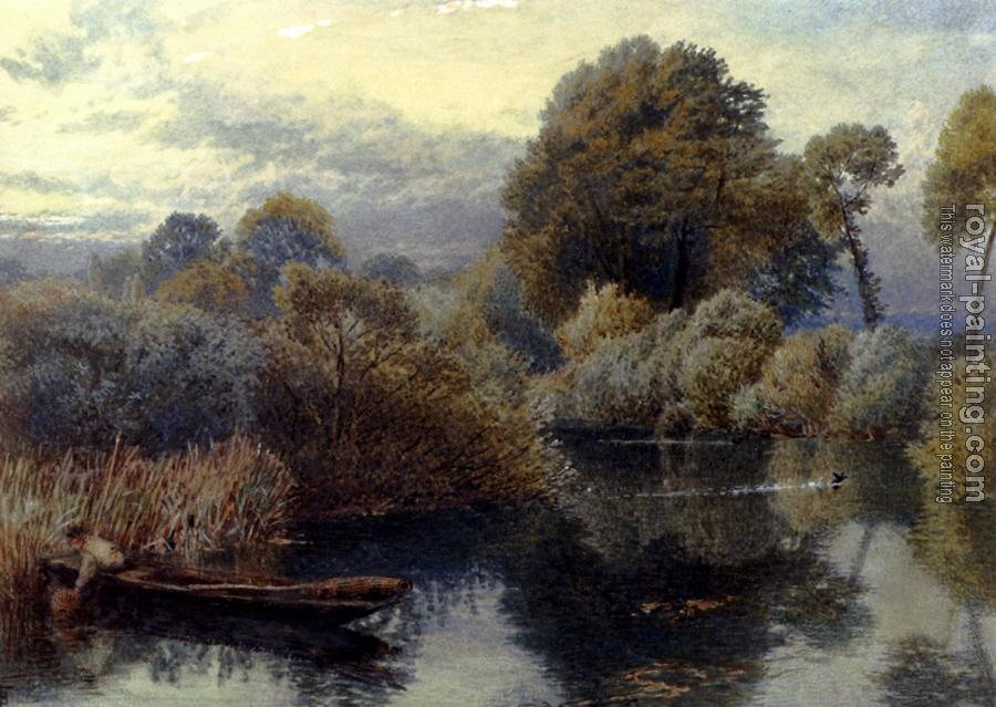 Myles Birket Foster : An Eel Fisherman On The Thames