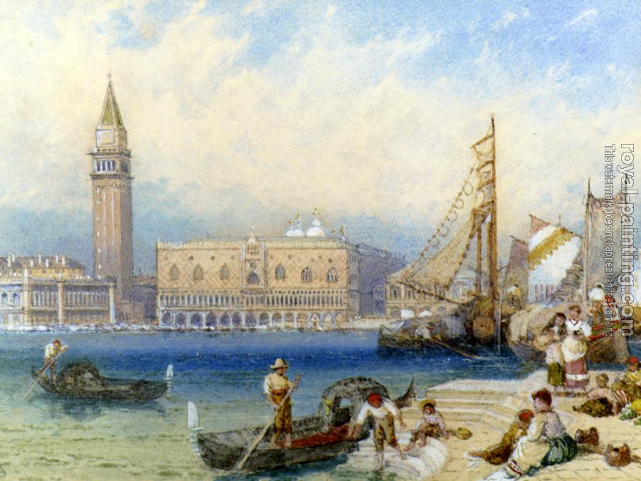 Myles Birket Foster : St Marks and The Ducal Palace From San Giorgio Maggiore