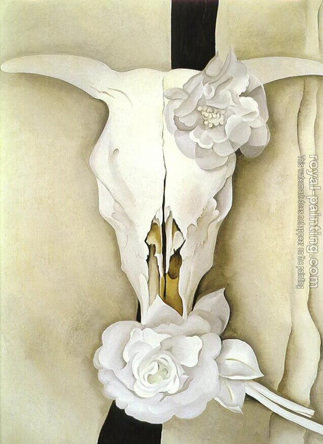 Georgia O Keeffe : Cows Skull with Calico Roses