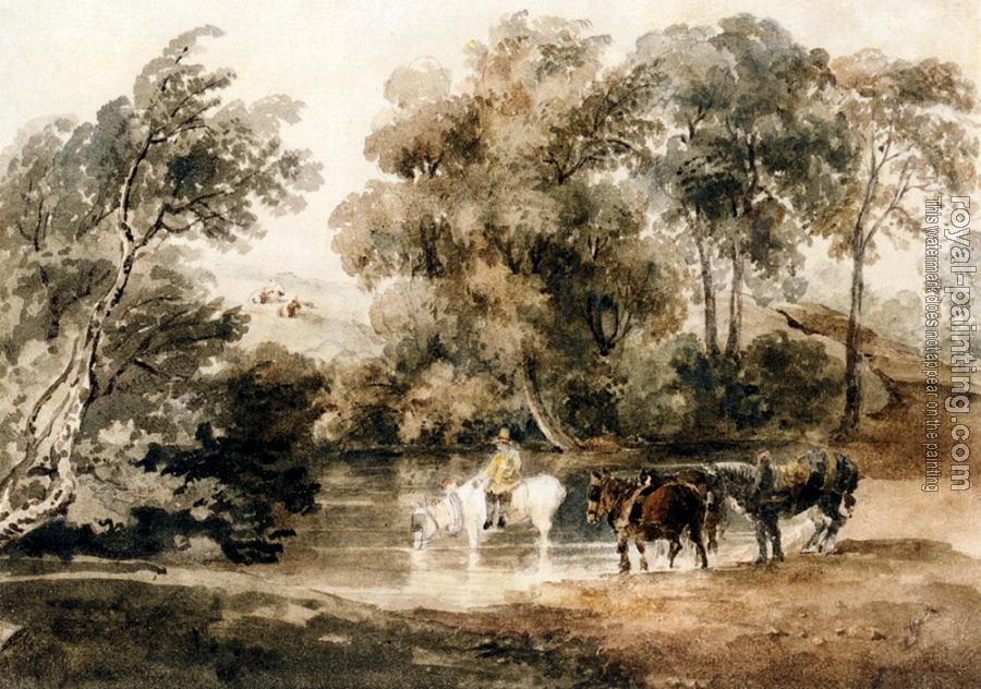 Peter De Wint : Horses Drinking At A Pool