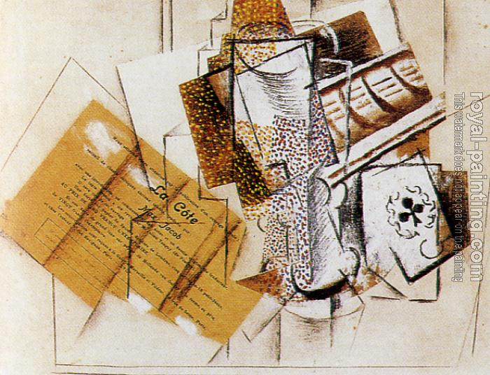 Pablo Picasso : still life with glass and card game