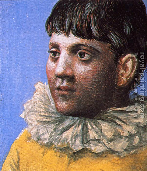 Pablo Picasso : young man dressed as pierrot