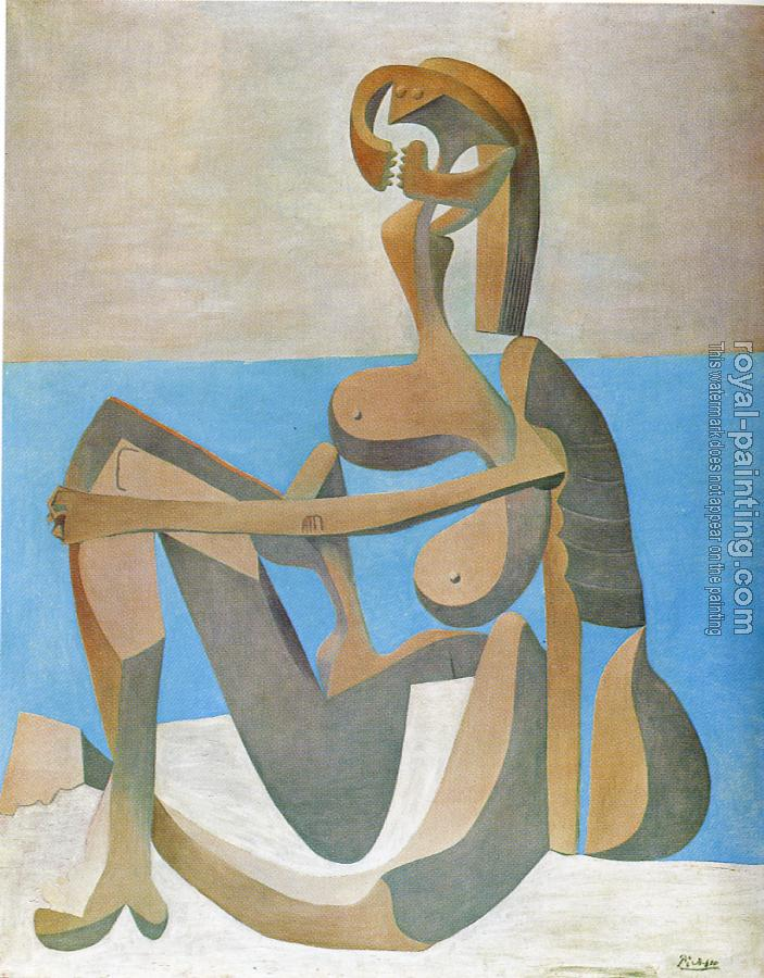Pablo Picasso : seated bather by the sea