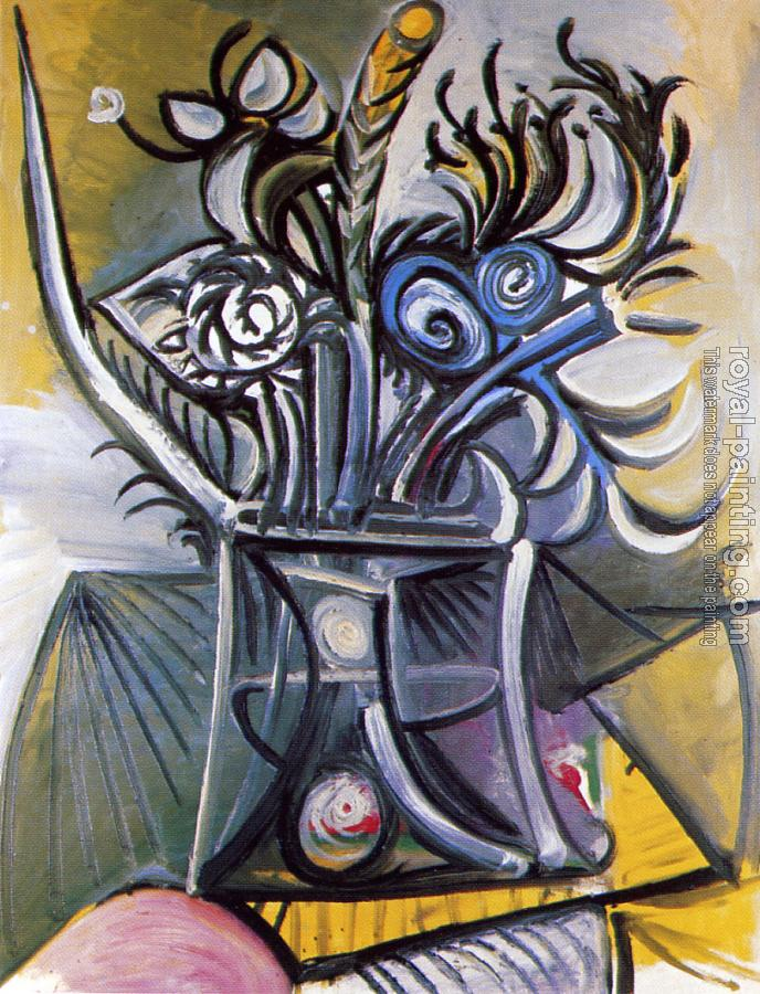Pablo Picasso : vase of flowers on a table