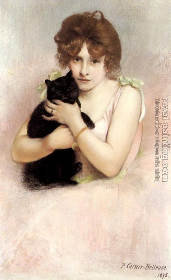 Pierre Carrier-Belleuse : Young Ballerina Holding A Black Cat