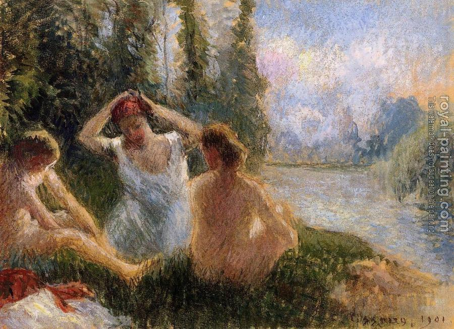 Camille Pissarro : Bathers Seated on the Banks of a River