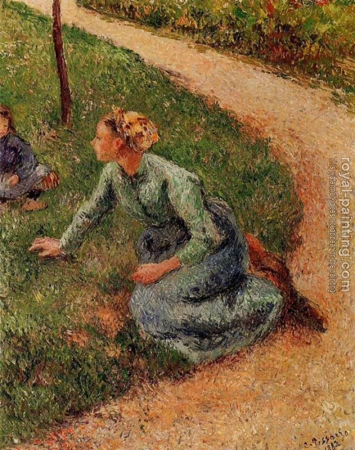 Camille Pissarro : Peasant Trimming the Lawn