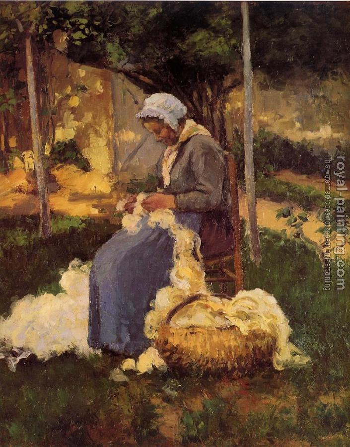 Camille Pissarro : Peasant Woman Carding Wool