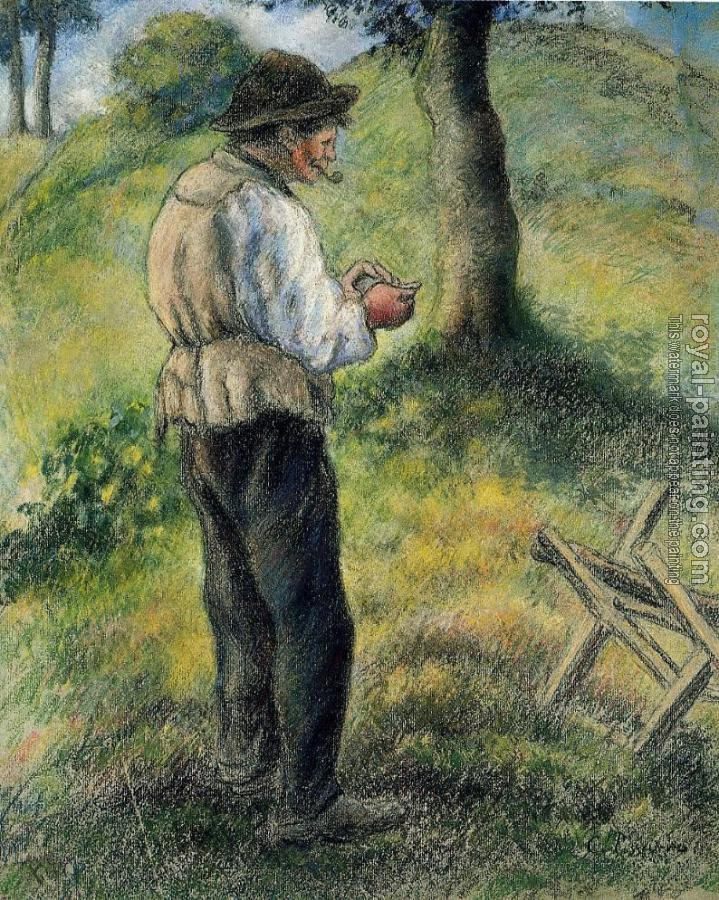 Camille Pissarro : Pere Melon Lighting His Pipe