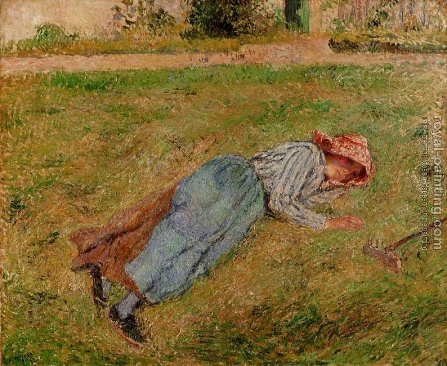 Camille Pissarro : Resting, Peasant Girl Lying on the Grass, Pontoise