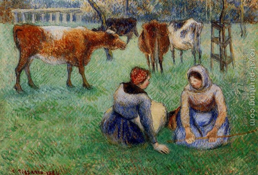 Camille Pissarro : Seated Peasants Watching Cows