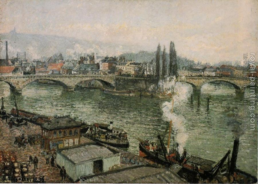 Camille Pissarro : The Corneille Bridge, Rouen, Grey Weather