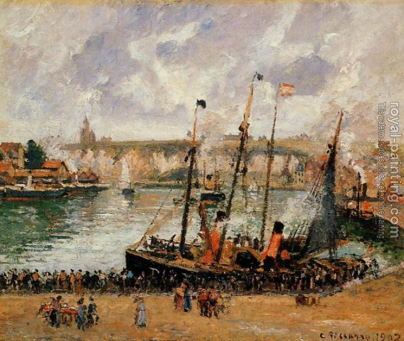 Camille Pissarro : The Inner Harbor, Dieppe, High Tide, Morning, Grey Weather