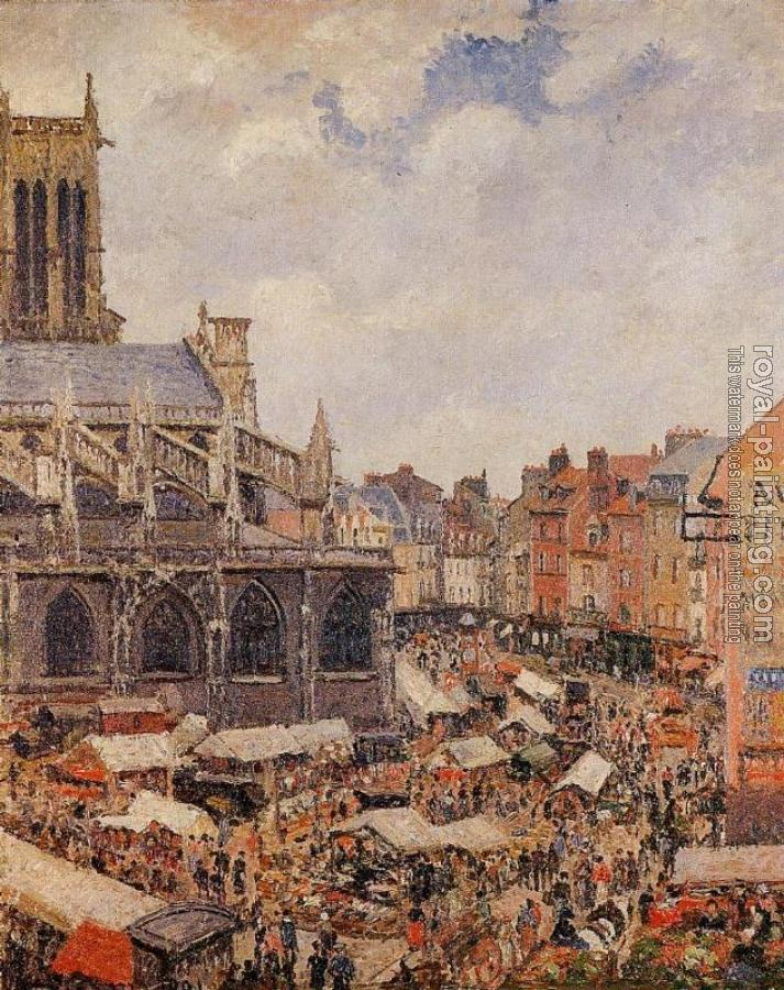 Camille Pissarro : The Market by the Church of Saint-Jacques, Dieppe
