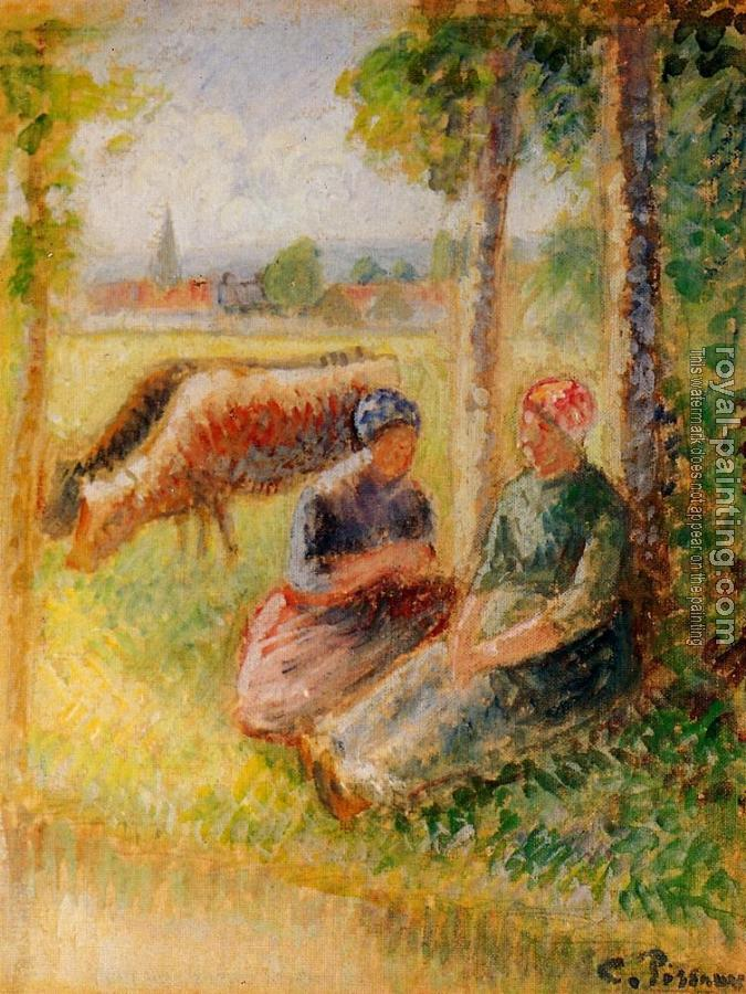 Camille Pissarro : Two Cowherds by the River