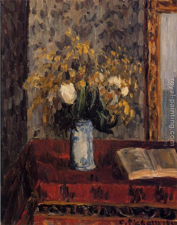 Camille Pissarro : Vase of Flowers, Tulips and Garnets